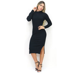High Neck Long Sleeve Black Midi Bodycon Ribbed Sweater Dress