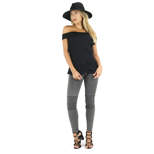 Sleek Black Off Shoulder Ribbed Tank