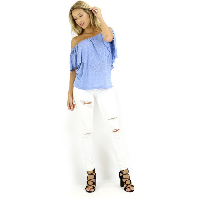 Ruffle Off Shoulder White Top