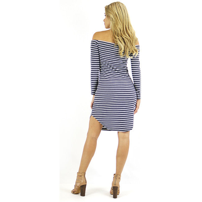 Navy Stripes Off-shoulder Dress