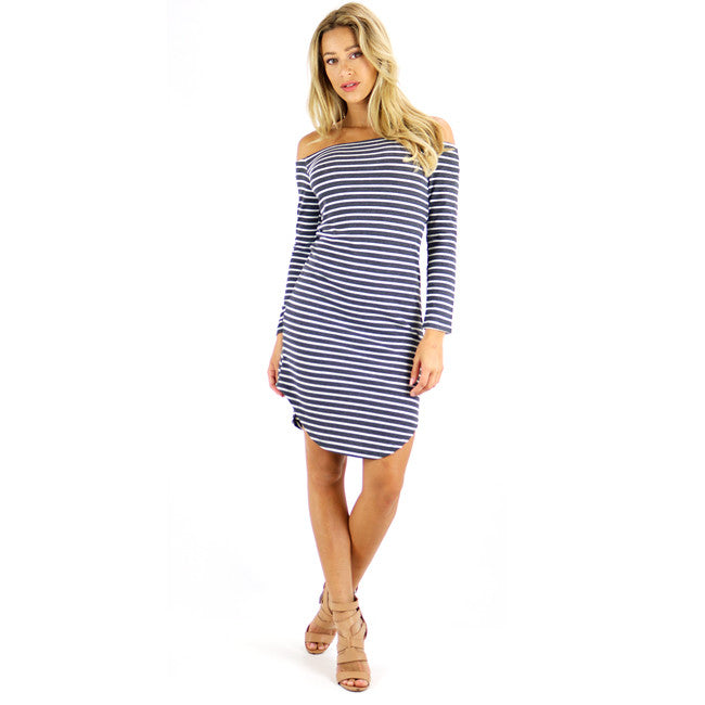 Gray Stripes Off-shoulder Dress