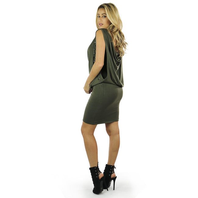 Olive Green Studs Embelished Blouson Dress
