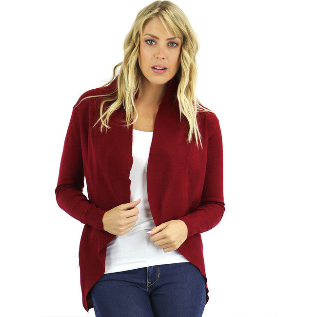 Open Front Curved Hem Burgundy Cardigan