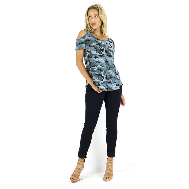 Neutral Camo Cold Shoulder Top