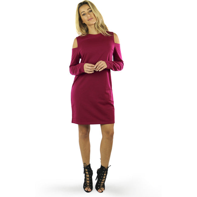 Berry Cold Shoulder Terry Shift Dress