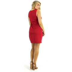 Red Scuba Cutout Shift Dress