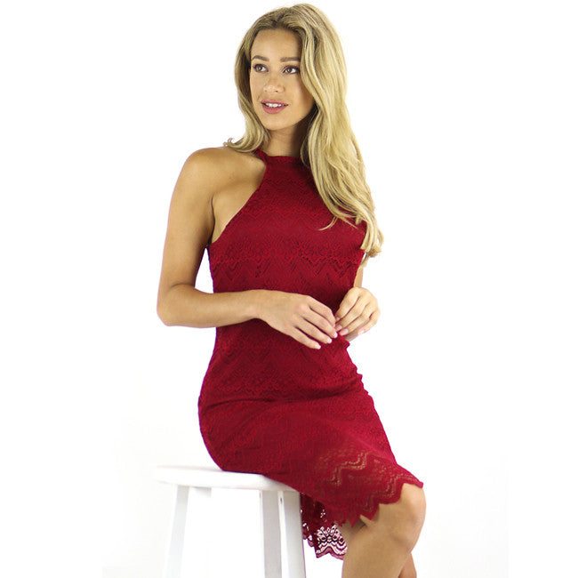 Ruby Red Lace Halter Dress