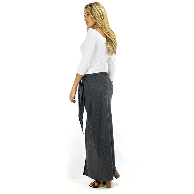 Grey Ribbed Tie Accent Wrap Maxi Skirt