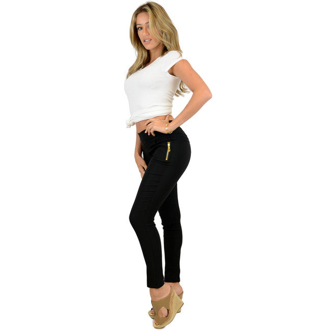 Zipper Accent Skinny Pants