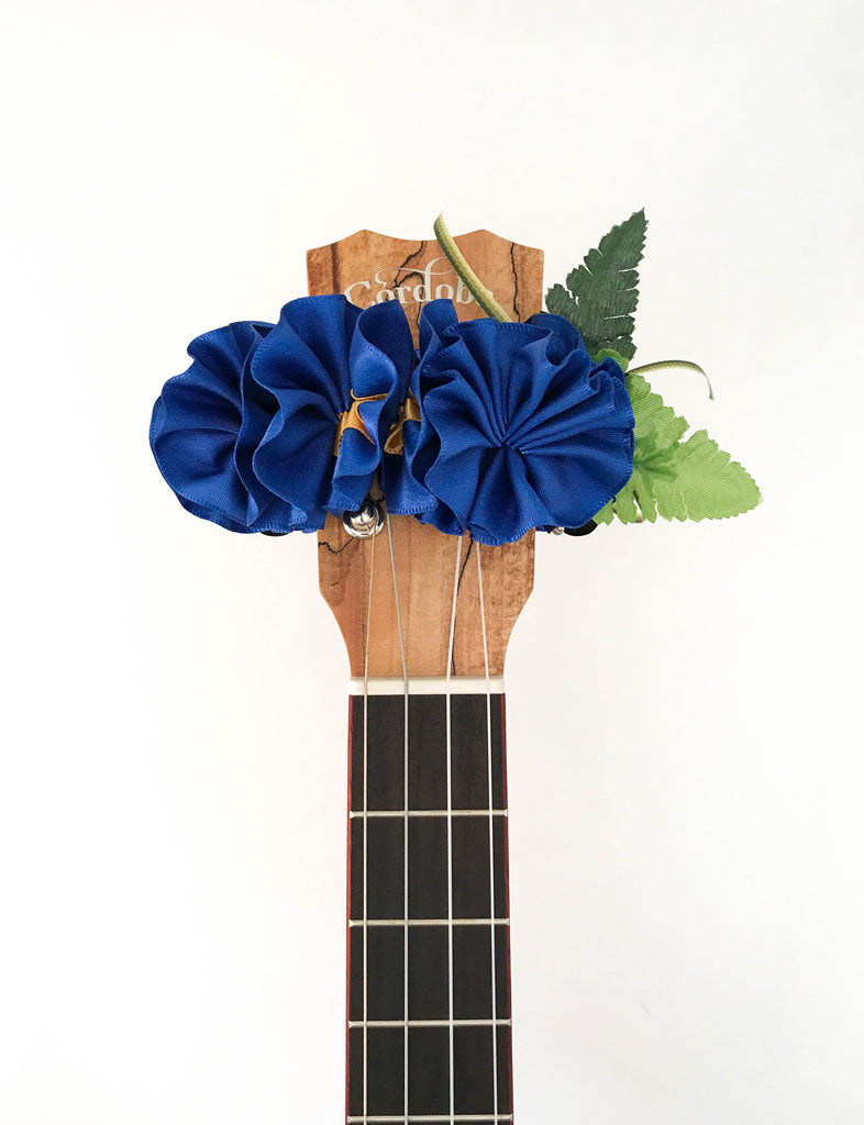Ukulele headstock accessory, the ribbon lei! Blue & Yellow