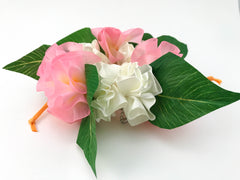 Ukulele headstock accessory, the ribbon lei! Pink & White