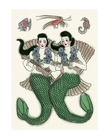 Mermaid Ukulele Duet Print