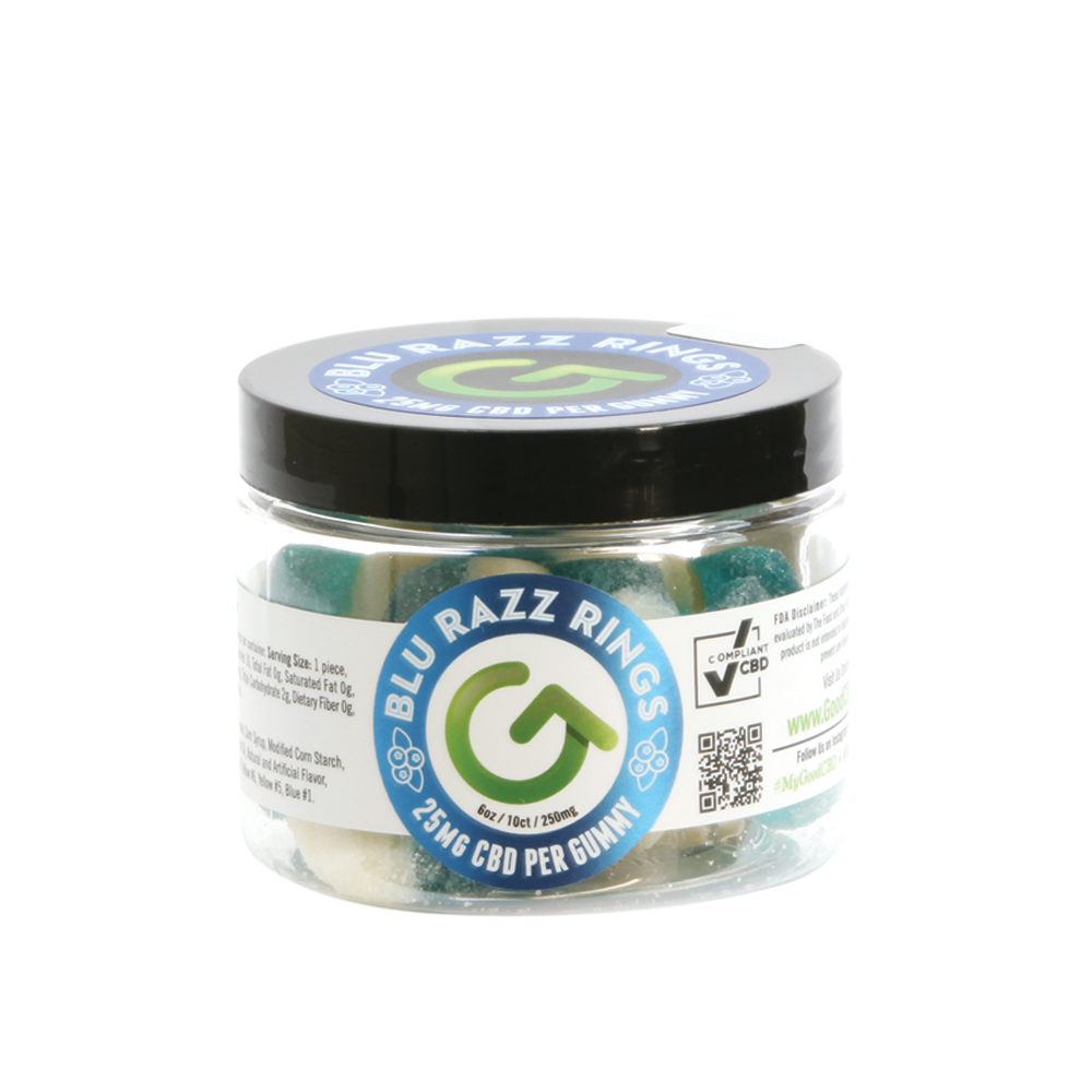 CBD Gummy Blue Raspberry Rings | 250mg - 500mg - Good CBD Online Store