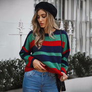 2020 Ladies Loose Striped Long Sleeve Knitted Casual Sweater