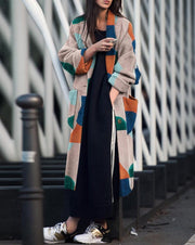 Lapel Print Long Sleeve Coat