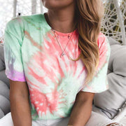 Bright Tie-dye Gradient Printed Loose T-shirt Women's Tops