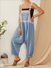 Casual Loose Plus Size Colorblock Overalls Patch Pocket Jumpsuit