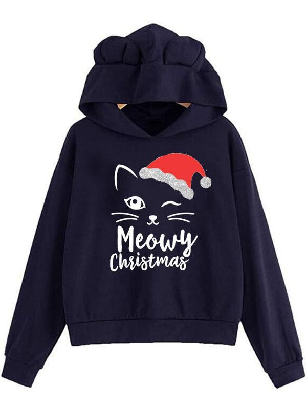 Christmas Cat Print Ear Sweater Hooded Top