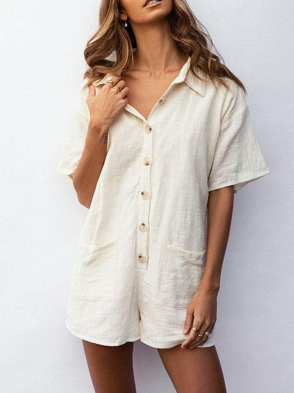 Cotton and Linen Short Sleeve Romper