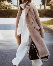 Fashion Lapel Collar Plain Winter Floss Long Coat