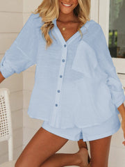 Casual Loose V-neck Long-sleeved Shirt Shorts Two-piece Suit
