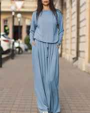 Casual Loose Knit Two-piece Suit