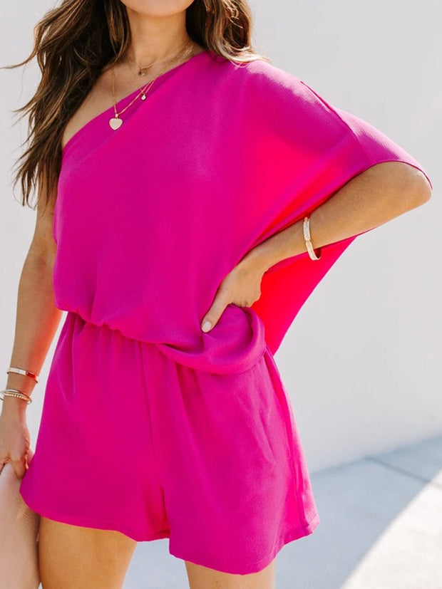 Casual Loose Solid Color One-shoulder Two-piece Suit