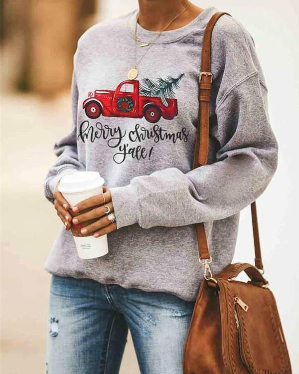 Christmas Casual Printed Round Neck Long Sleeve Sweatshirt