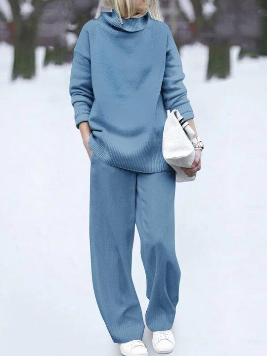 Casual Wild Pure Color Turtleneck Two-Piece Set