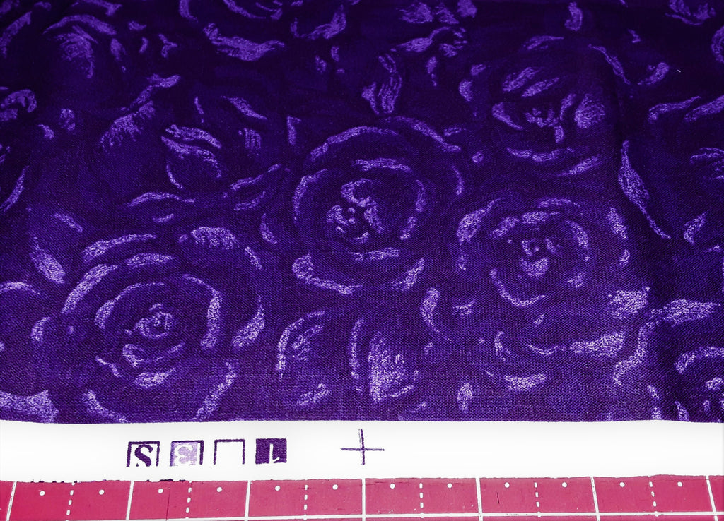 "a Fabric - Purple Roses Print 18"" x 42"""