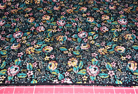"Fabric - Pink & Turquoise Floral Print 28"" x 44"""