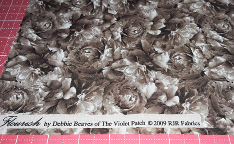"Fabric - Brown Roses Print 27"" x 44"""