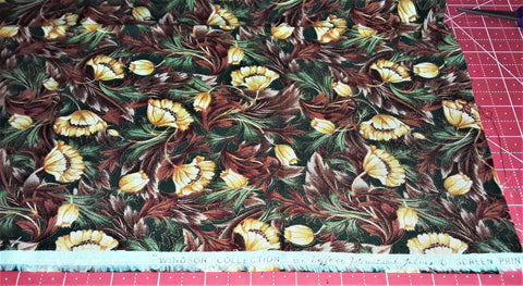 "Fabric - Fall Flowers Metallic Print 15"" x 32"""