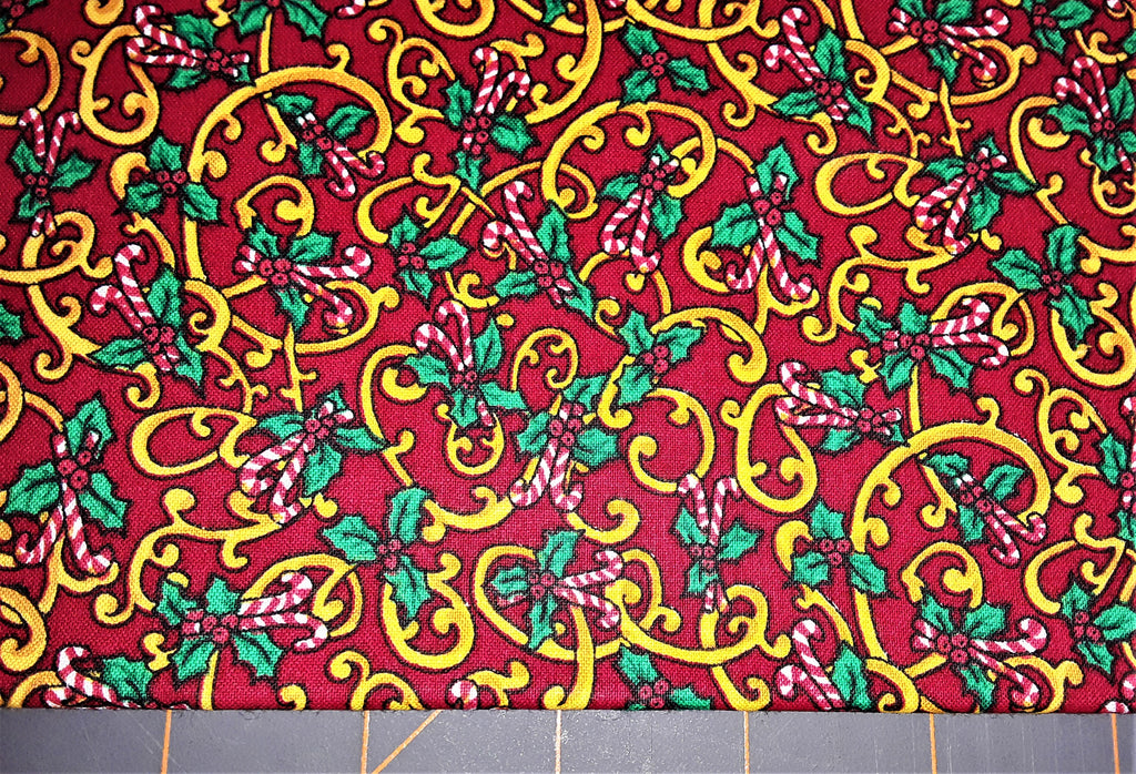"Fabric - Christmas Candy Canes & Holly Print 16"" x 44"""