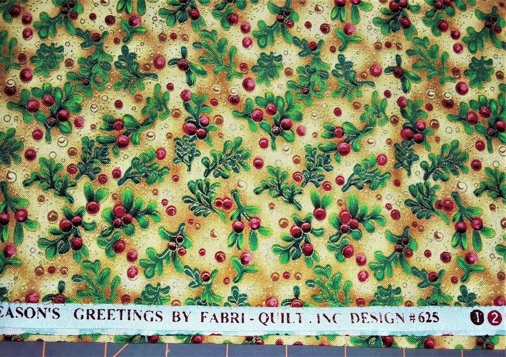 "Fabric - Christmas Mistletoe Print 23"" x 44"" (metallic)"