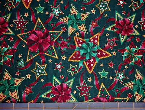 "Fabric - Christmas Stars & Bows Print 24"" x 32"""