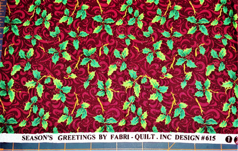 "Fabric - Christmas Holly Print (metallic) 18"" x 44"""