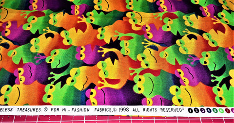 "Fabric - Colorful Frogs Collage Print 21"" x 42"""
