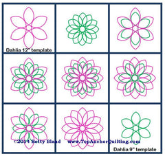 "Dahlia Pink 1/4"" thick Longarm Quilting Templates"