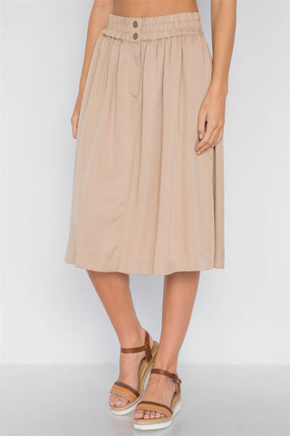 Khaki High-waist Solid Midi Skirt