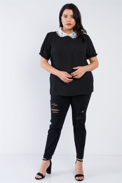 Plus Size Chiffon Embellished Peter Pan Collar Top