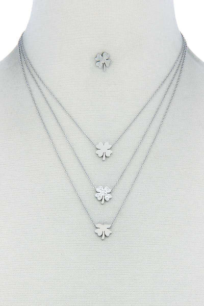 Triple Layer 4 Leaves Clover Necklace And Earring Set