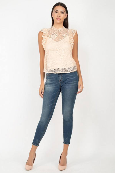 Sleeveless Lace Lining Top