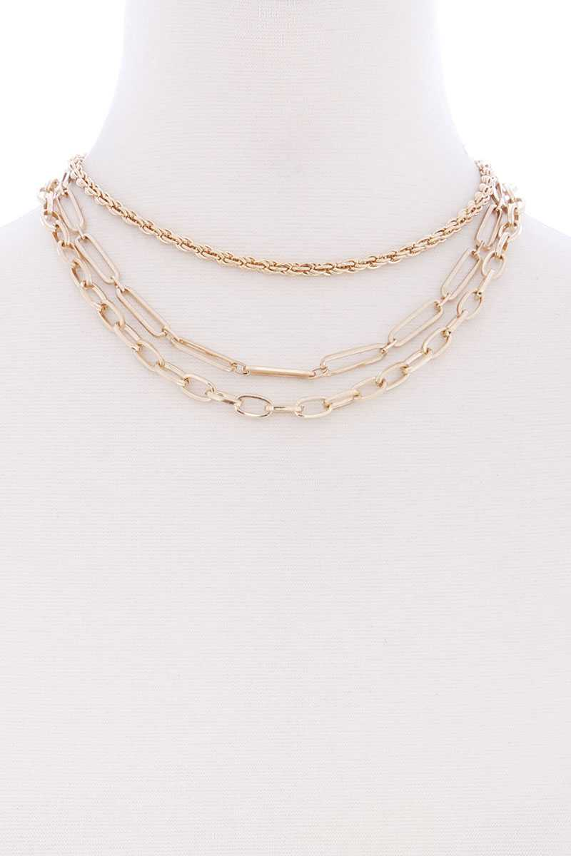 3 Layered Multi Metal Chain Necklace