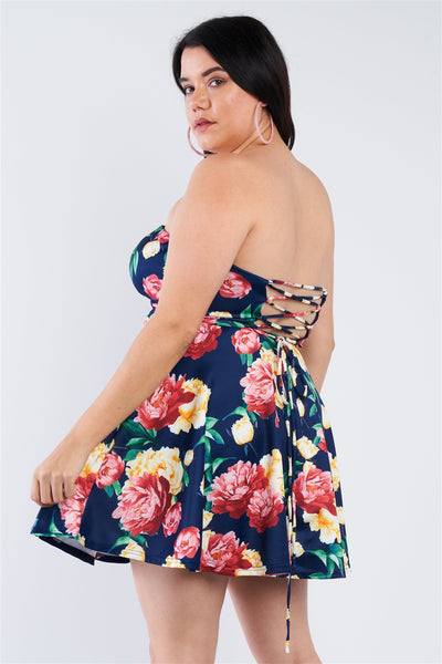 Plus Size Navy Multi Floral Sweetheart Dress