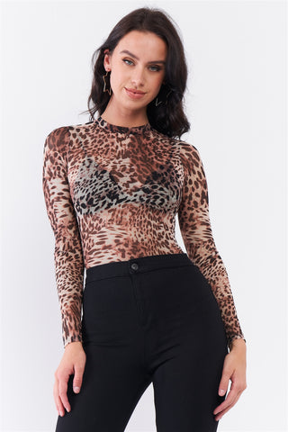 Brown Cheetah Sheer Mesh Mock Neck Long Sleeve Bodysuit