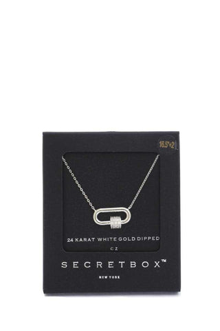 Secret Box Rhinestone Cube Oval Ring Pendant Necklace