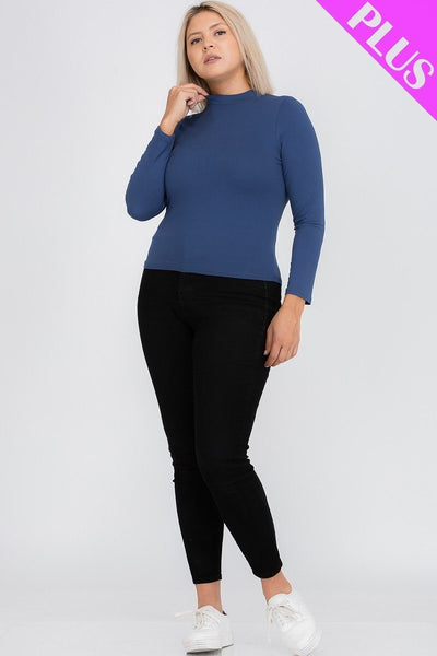 Plus Size Mock Neck Solid Top