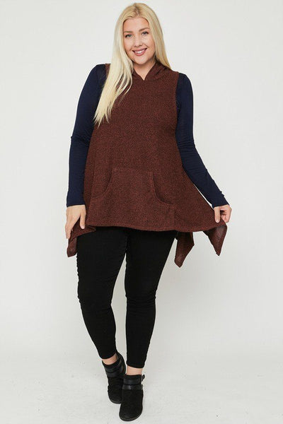 Plus Size Two Tone Knit, Sleeveless Top