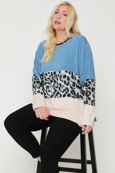 Plus Size Color Block Top Featuring A Leopard Print Top